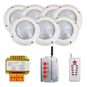 Pack 7 projecteurs LED RGB + Synchroniseur de télécommande + Transformateur de sécurité (7 projecteurs)