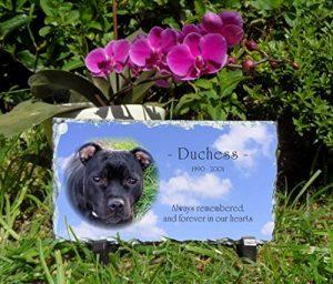 Plaque funéraire pour animal domestique Ardoise Personnalisé Long rectangulaire 1