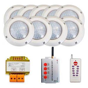 WARMPOOL Pack 9 Projecteurs LED RGB + Synchroniseur de télécommande + Transformateur de sécurité (9 projecteurs)