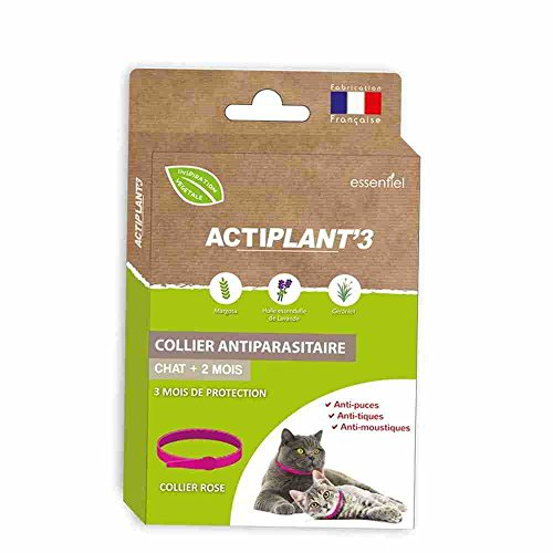 Actiplant'3 – Collier antiparasitaires pour chat – Rose