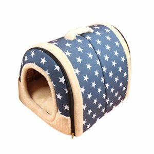 Buimin 2 en 1 Maison et canapé Niches & Maison d'Animal Familier lit de Chien Chat Chiot Lapin Lavable Pliable Lit du Cat Trou du Chat Doux Chaud Nid Grotte Maison Lit avec Coussin Amovible (C)