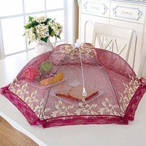 Fingertoys Cache-plat pliable en fil doré Idéal pour la maison ou l'extérieur Red