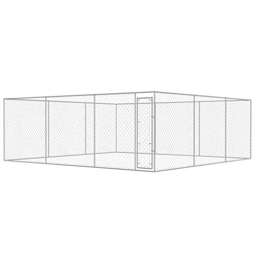 Xinglieu Canile d'extérieur en Acier galvanisé 6x 6m Clôture pour Chiens