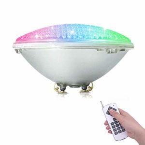 COOLWEST RGBW PAR56 Lampe de Piscine Lumière LED 36W 12V DC/AC, contrôle par télécommande, Etanche IP68 Éclairage sous-marin