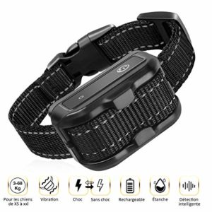 FOCHEA Collier Anti-aboiement Choc & Vibration & Bip, [Version 2019] IPX7 Collier de Dressage Rechargeable, Choc & Vibration & Sensibilité Réglables pour Petits Moyens et Grands Chiens de 6.8 à 68KG