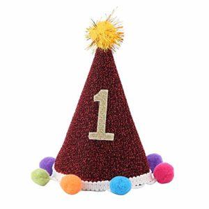 Jadeshay Chapeau d'anniversaire pour Chien – Chapeau Ajustable décoratif pour Animaux de Compagnie avec Boule de Poil pour Chiot (Style : B)