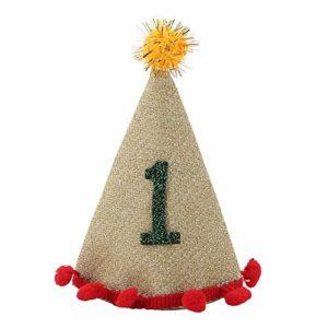Jadeshay Chapeau d'anniversaire pour Chien – Chapeau Ajustable décoratif pour Animaux de Compagnie avec Boule de Poil pour Chiot (Style : C)