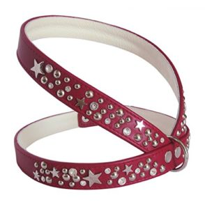 Luxe Harnais en Cuir pour Chien Star, poitrine 44-49cm, rouge