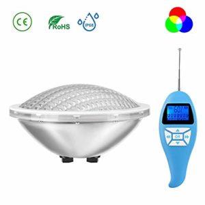 LyLmLe LED Piscine PAR56 Projecteur RGB 18x 3 Watt(3in1) avec Télécommande,Multicolore Lampe de Piscine Submersible IP68 Etanche, 12V AC