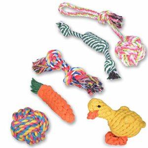 Ninonly Jouet pour Chiens [6 Pack] Puppy Lot de Jouets Corde Coton Tressé Jouets de Chien Dents de Nettoyage Cadeau Mâcher Indestructible Interactive Jouets de Coton Santé Dentaire pour Chien Jouant