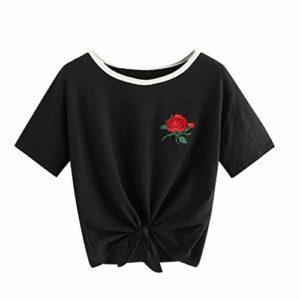 Viewk Cadeau fête des mères T-Shirt Bandage à la Mode pour Femmes, col t-Shirt à Manches Courtes et à Broderies appliquées