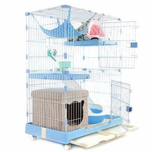 WENFF Cage à Chat De Trois étages Cage à Chat Très Grand Espace Libre pour Deux Chats à La Maison,Blue-Twofloorsandthreehouses
