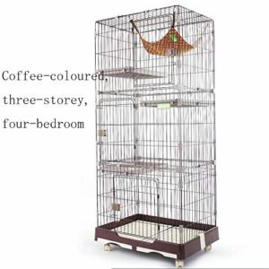 WENFF Cage à Chat De Trois étages Cage à Chat Très Grand Espace Libre pour Deux Chats à La Maison,Coffee-threefloorsandfourhouses