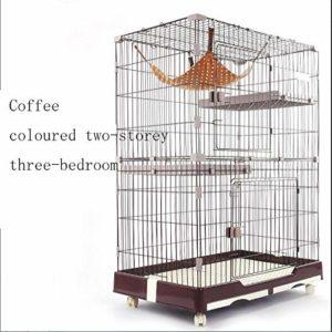 WENFF Cage à Chat De Trois étages Cage à Chat Très Grand Espace Libre pour Deux Chats à La Maison,Coffee-Twofloorsandthreehouses
