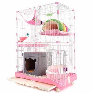 WENFF Cage à Chat De Trois étages Cage à Chat Très Grand Espace Libre pour Deux Chats à La Maison,Pink-Twofloorsandthreehouses