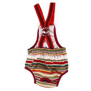 Culotte Sanitaire à Bretelles à Rayures Colorées pour Chienne Animal Femelle 5.5-7Kg XL