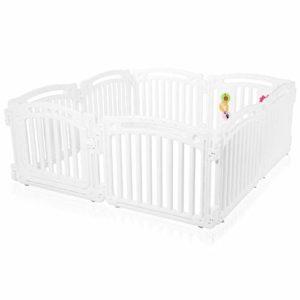 Baby Vivo Parc Bébé Barrière Sécurité Plastique Enfant Protection Porte Espace Jeu Chambre 8 Éléments en Blanc – Ivory