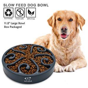 Decyam Gamelle antidérapante en Forme de Labyrinthe pour Animal Domestique – favorise Une Alimentation Saine et Une Digestion Lente (Large Black)