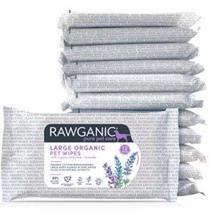Rawganic Lot de 12 lingettes biodégradables en Coton Biologique pour Animaux domestiques avec Aloe Vera et Lavande sans Plastique pour Chien, Chat, Cheval et Autres Animaux