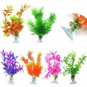 Roblue 6 pcs Plante Artificielle pour Aquarium Ventouse Accessoires d'aquarium Fleur Herbe de Simulation Fish Tank en Plastique