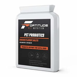 Fortitude Pet Nutrition Probiotiques pour Animaux de Compagnie pour Chiens et Chats | Supplément probiotique avec enzymes digestives pour Animaux domestiques | 120 comprimés aromatisés au Poulet