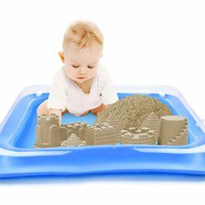 LeeMon Coussin de Sable Gonflable pour Enfant S Bleu