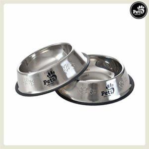Pets&Partner® Gamelles pour Chien   Lot de 2 écuelles en INOX pour Grands Chiens, 30cm Ø, 2 litres chacune. ca. 6000 ML