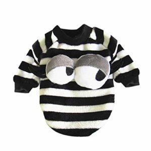 SCHOLIEBEN VêTements Chien Chat Sweater Costume d'hiver Halloween sans Manches,Mignon Chiot Pull Petite Chemise Chiot Manteaux Doux pour Animaux De Compagnie(Noir,M)