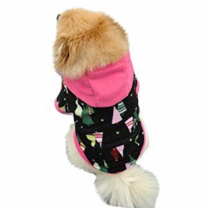 SCHOLIEBEN VêTements Chien Chat Sweater Costume d'hiver Halloween sans Manches,Sweat à Capuche en Molleton pour Chien Capuche Pull Costumes(Noir,XS)