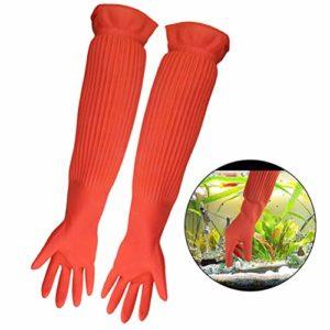 ASOCEA Gants d'entretien pour Aquarium en Latex imperméables et réutilisables Outils de Nettoyage pour Aquarium Prévient Les Allergies de Contamination – 1 Paire Orange