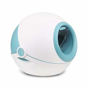 FANGDA Boîtes de litière pour Chats Grande complètement fermé Flip Toilettes Anti-Splash Déodorant Cat Envoyer à Litière Pelle 53,5 * 51 * 46.5cm,Bleu