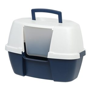 Iris Ohyama Bac à Litière d'Angle pour Chat Ouverture Frontale Plastique Bleu/Blanc 53,3 x 40,6 x 35,5 cm