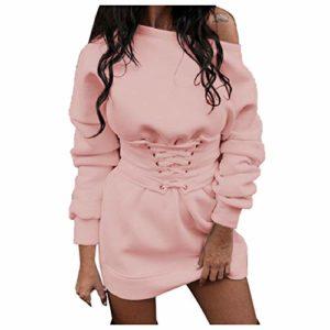 Moonuy _ Hiver Femmes Mode Confortable Polaire Chaud Robe Épaisse + Ceinture Ceinture Bandage Casual Manches Longues Couleur Unie Robe