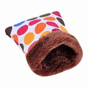 Whiie891203 Nid d'animal Domestique pour Petit Animal Domestique, Hamster, Lapin, Pois et cœurs imprimés, G *, Small