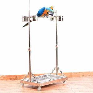 Zengqhui Support d'oiseau Oiseau de Stand Station d'alimentation des Oiseaux en métal télescopique Convient for Les Grandes et Moyennes Perroquets (Couleur : Silver, Size : 68x130cm)