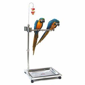 Zengqhui Support d'oiseau Oiseau métal Station d'alimentation Grand Convient for Les Oiseaux d'ornement tels Que Parrot Oiseaux (Couleur : Silver, Size : 45x62x100cm)
