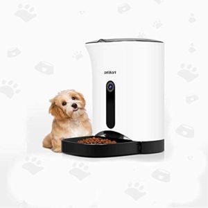 Zhengtuu Chien Chat Blu-Ray LCD Affichage Alimentation Automatique Enregistrement WiFi Mobile Téléphone APP Smart Multifonction Feed Pet White Capacité Moyenne 4.3L Portable (Color : White)