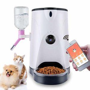 WFHhsxfh Distributeur de Nourriture Intelligent de conducteur Automatique d'animal familier avec la caméra HD et la Surveillance vidéo à Distance de Chat de Chien Pet Feeder
