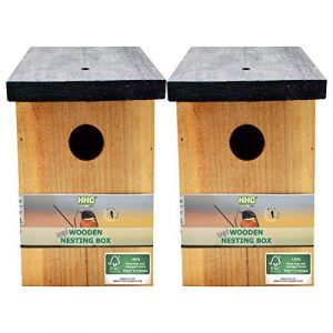 2 x Handy Home and Garden Nichoir en Bois Traité à la Pression Boîte de Nidification Maison d'Oiseau Sauvage – Fabriqué avec 100% de Bois FSC, des Forêts Durables Respectueuses de l'environnement