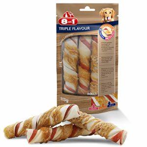 8in1 Triple Flavour Rolls – Rouleaux à Mâcher pour Chien adulte – Plus de viande, plus de durée de mâche – Limite le Tartre – Sans OGM, Conservateur Artificiel