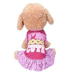 Amuster Petite robe de chien de mode chien de compagnie t-shirt robe chien chat mignon veste d'été jupe (M, Rouge)