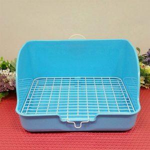 Amyove Lapin en plastique Plateau de toilette avec fond en fil d'acier Baignoire pour urinoir en forme de pipi Cabinet de formation pour animaux domestiques (Bleu)