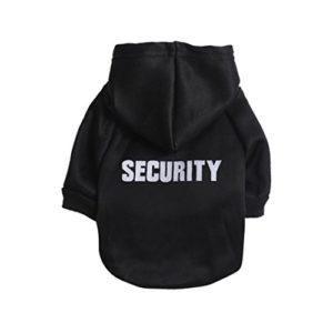 """Angelof Vetement Chien/Chat Sweat A Capuche Chien Veste Petit Chihuahua Manteau T-Shirt Habillement 2 Pattes pour Chien Habits Chiot Imprimé """"Security"""" (M, Noir)"""