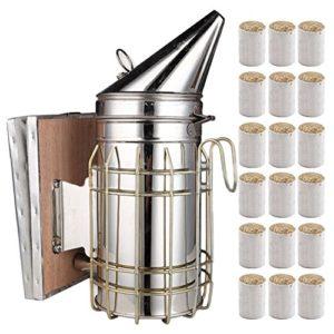 Apiculture Outil, Acier Inoxydable Hive Fumoir, Fumeur D'apiculture, Gardant la Ruche de Fumeur D'outil D'apiculture équipement avec le Panneau de Bouclier de Chaleur 54 Paquet de Carburant de Fumeur