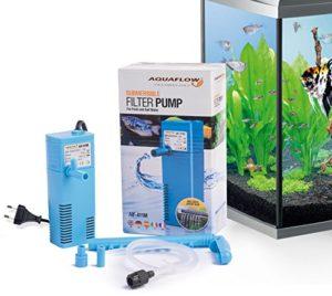 Aquaflow Technology® AIF-411M – Pompe de filtre pour aquarium submersible pour eau fraîche et eau salée. Pour réservoirs d'aquarium jusqu'à 50 litres. 300L/H 2W
