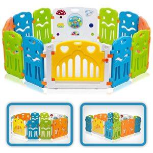 Baby Vivo Parc Bébé Barrière Securitè avec Porte Plastique Enfant Protection Grand Jeu Extensible – COLORS XL