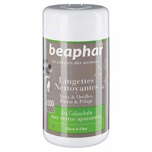 Beaphar Lingettes nettoyantes pattes, pelage, yeux et oreilles – chien et chat – 100 lingettes