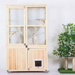 BEDS Cage pour Chat en Bois avec Roue Universelle Mobile pour Animal Domestique