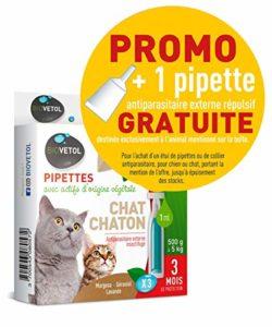 Biovetol Pipettes Anti-puce pour chaton et chat (500g à 5kg) – 3x1ml