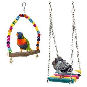 Bird balançoires, chou-rave Budgie Jouets en bois pour animal domestique Oiseau Cage Hamac Swing jouet à suspendre pour perruches cacatoès, Conures, Aras, perroquets, inséparables, pinsons (lot de 2)